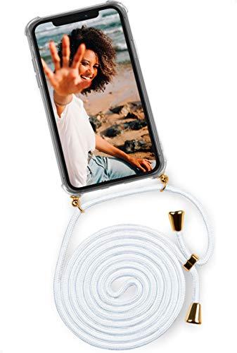 ONEFLOW Twist Hülle kompatibel mit iPhone 12/12 Pro - Handykette, Handyhülle mit Band zum Umhängen, Hülle mit Kette abnehmbar, Weiß Gold