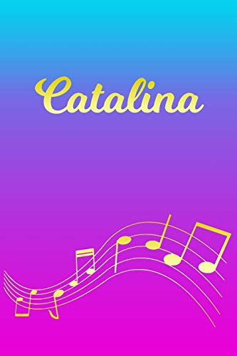 Catalina: Sheet Music Note Manuscript Notebook Paper – Pink Blue Gold Personalized Letter C Initial Custom First Name Cover – Musician Composer … Notepad Notation Guide – Compose Write Songs