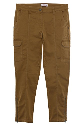 sheego Hose Cargohose Pants Die Schmale Damen Stretch Zip Kurzgröße Plusgröße , Farbe:braun;Damengrößen:21