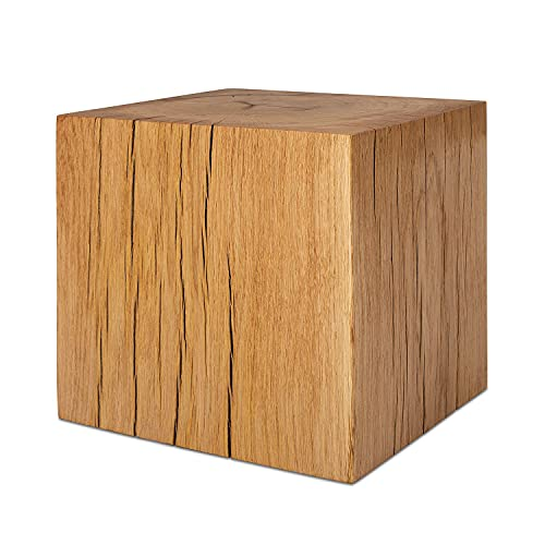 GREENHAUS Natürlich wohnen Holzwürfel 13x13x13 cm aus Eiche massiv, natürlicher hangefertigter Holzblock, rustikaler Holzklotz