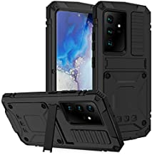 YEON for Samsung Galaxy S21 Ultra Case, Metal Military Rugged Heavy Duty Shockproof Dustproof Case Outdoor Sports Full Body Protective Case with Built-in Screen Protector and Kickstand (Black)