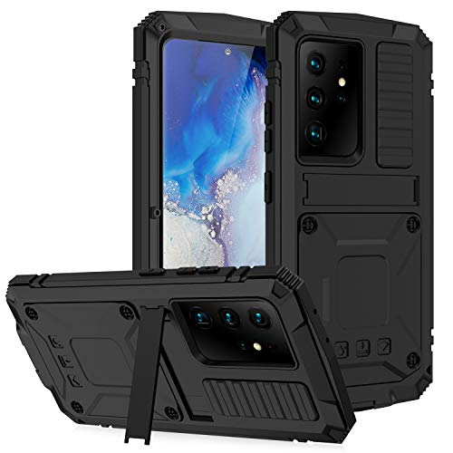 Daktronics for Samsung Galaxy S21 Ultra Metal Case, (with Screen Protector) Outdoor Sports Military Heavy Duty Shockproof Sturdy Full Cover Hybrid Aluminum Metal Hard Case, with Kickstand (Black)