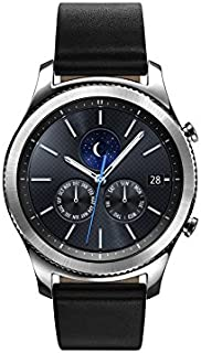 Samsung Watch - Gear S3 Classic LTE (SM-R775)-Serial Silver Black Leather Band - Verizon, Large - Pre-Owned