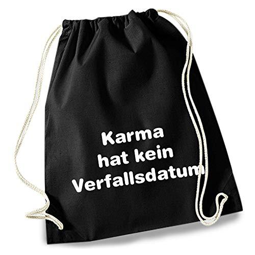 HAPPY FREAKS Turnbeutel/Stoff-Rucksack 'Karma' - Unisex-Rucksack für Konzert, Schule, Freizeit und Einkauf