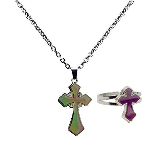 IPOTCH Stimmungsring Stimmungskette Farbwechsel Schmuck Stimmung Farbe veränderbar Ring und Halskette Schmetterling Damenschumuck