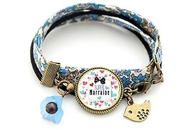 Bracelet marraine, Super marraine, bleu rose, oiseau fleur bleu, cadeau marraine, liberty