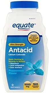 Equate Antacid Ultra Strength, 160 Chewable Tablets, 1000 Mg, Peppermint Flavor
