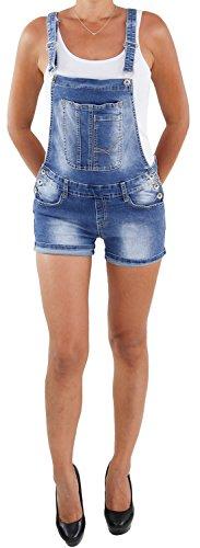 Damen Latzhose Overall Jumpsuit Hot Pants Jeans Shorts Sommer Stretch Hose Blau A XL/42