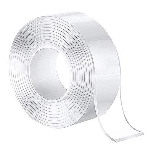 careme 【2020最新版】両面テープ 超強力 魔法テープ テープ のり残らず 繰り返し はがせる 水洗い可能 強力 滑り止め 貼り直し 多機能 透明 DIYテープ 家庭 オフィス 学校 会社 工業用など (幅5cm 長さ5m)