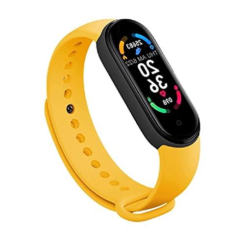 Ydh M6 - Reloj inteligente para hombre y mujer, correa de piel con Bluetooth, resistente al agua, 19 mm
