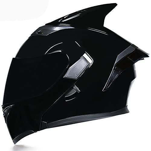 Casco Moto Modular ECE Homologado Casco Integral de Motocicleta Casco Flip Up Antivaho Doble Visera Casco de Moto Integral Scooter para Mujer Hombre Adultos Montar Al Aire Libre D,L=59-60cm