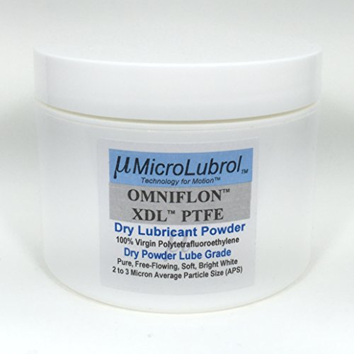 MICROLUBROL OMNIFLON XDL 100% Virgin PTFE Dry Lubricant Powder, 2-3 micron avg. particle size, FREE APPLICATOR BRUSH, 8 oz / 226.7 gm