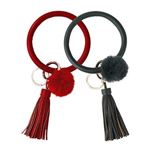 Armband Schlüsselbund Armreif Schlüsselring Quaste Armband Schlüsselhalter für Frauen Teen Mädchen 2 Stück Rot & Dunkelgrün