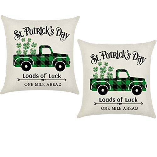 jemous St Patrick's Day Pillow Cases Pillowcase Protector St Patricks Day Shamrock Clover for Patricks Day Home Sofa Office Car Green Decoration