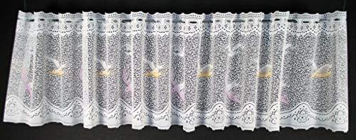 Gordijn half gordijn met vogels 31 cm hoog | Breedte vrij te selecteren in 81 cm stappen via aangeschafte hoeveelheid | Kleur: wit; oude roos, pastelgeel | Netto gordijnen cafe keuken