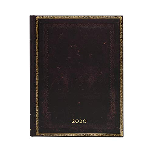 Paperblanks 12-Monatskalender 2020 | Schwarzes Marokkoleder |Vertikal | Ultra (230 x 180 mm)