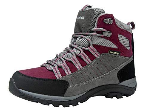 riemot Botas de Senderismo y Campo para Mujer Hombre, Zapatillas Altas de Trekking Zapatos de Montaña Escalada Aire Libre Calzado Impermeable Ligero Antideslizantes Sneakers, Fucsia EU 37