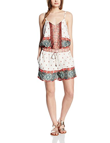 VERO MODA Damen VMLUPITA S/L Playsuit Jumpsuits, Mehrfarbig (Snow White AOP:Lupita Comb), 36 (Herstellergröße: S)