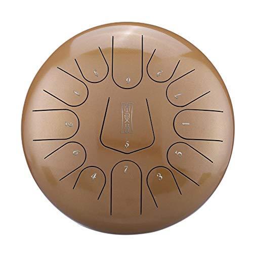 Generp Zoll Stahl Zungentrommel Handpan Trommel 13-zöllige 12-Zoll-Stahl-Zungentrommel-Handpan-Trommel mit 1 Paar Schlägeln für die Yoga-Meditation zur Ausbildung geistheilender Musik