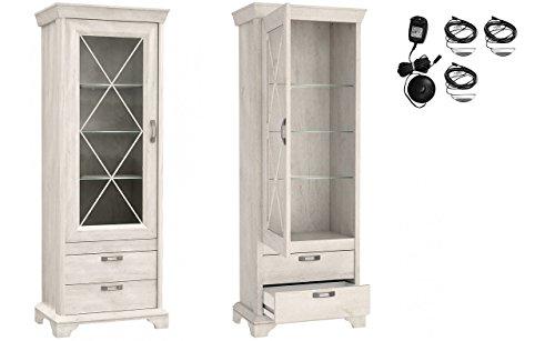 Furniture24 Vitrine Kashmir KSMV73, Standvitrine, Vitrinenschrank mit 1 Tür und 2 Schubkasten (Pinie Weiß, Mit 2 pkt. LED Beleuchtung)