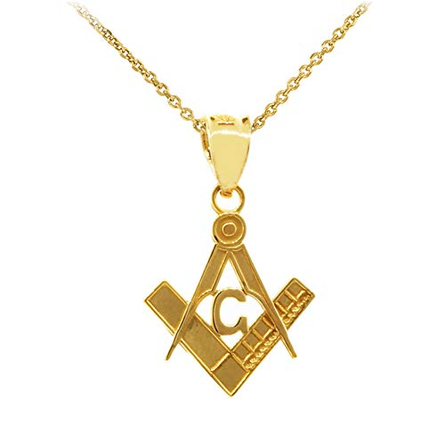 10k Gold Freemason Small Square and Compass Masonic Pendant Necklace, 20'