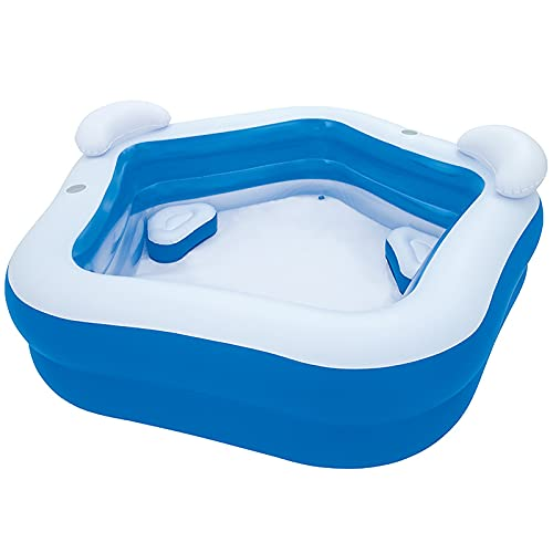Fanuosuwr Piscina Infantil al Aire Libre Piscina Familiar Pool Pentagonal Inflaje Inflable Piscina Respaldo Pool Pool Uso de Múltiples Escenas (Color : Blue, Size : 213x207x69cm)