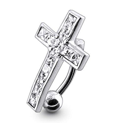 Weiße Kristall Stein Trendy Kreuz Design Sterling Silber Bauch Bars Piercing
