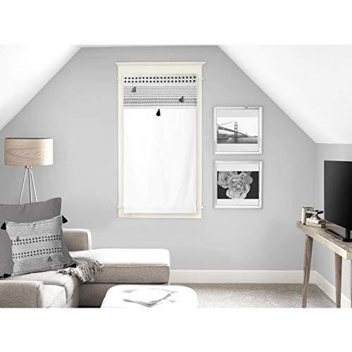 Soleil d'ocre Rideaux Brise-bise, Coton, Blanc, 45 x 90 cm