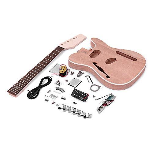 Leepesx TL Tele Style Unfinished E-Gitarren-Bausatz Mahagoni Korpus mit F Soundhole Ahorn Holz Hals Palisander Griffbrett