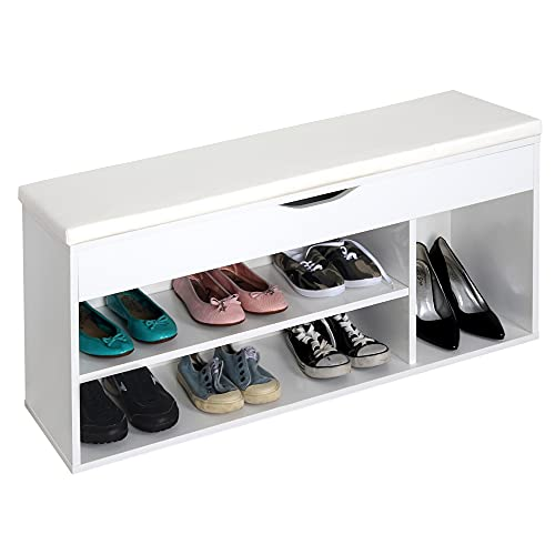 RICOO WM034-WM-W Banco Zapatero 104x49x30cm Armario Interior con Asiento Organizador Zapatos Mueble recibidor Perchero Entrada Madera Blanca