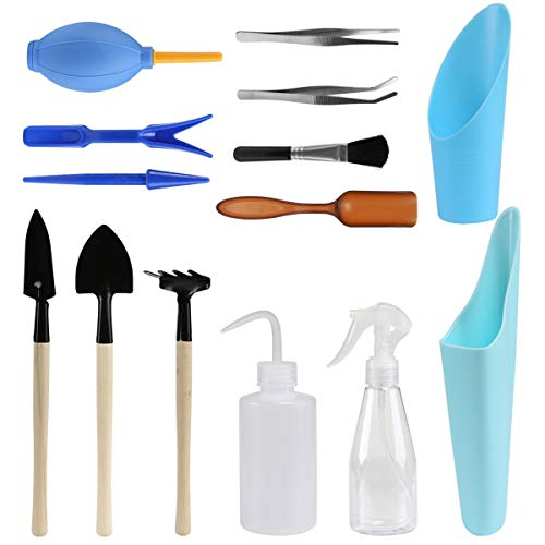 Warooma Lot de 14 mini outils de jardinage, outils de repiquage à la main, outils de plantation miniatures pour intérieur/extérieur