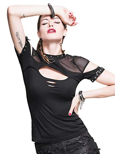 Devil Fashion Punk - Camiseta de manga corta para mujer, sexy, estilo gótico, color negro Negro Negro ( M