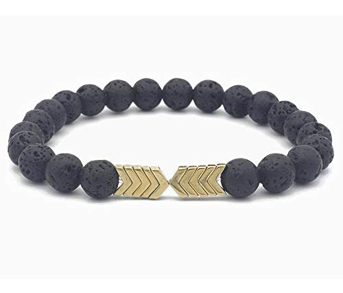 aSulis Womens Asulis 8Mm Lava Rock 7 Chakra Diffuser Bracelet Elastic Natural Stone Yoga Beads Bracelet Bangle (Hematite-Gold)