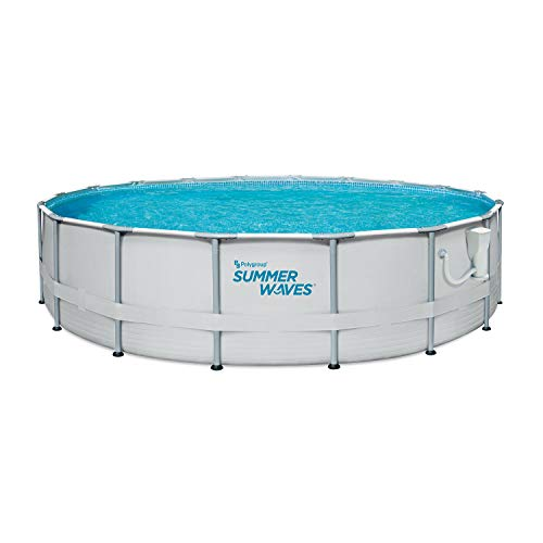 Summer Waves Elite 18ft x 48in Metal Frame Outdoor Backyard Above Ground Pool Set with Filter Pump,...
