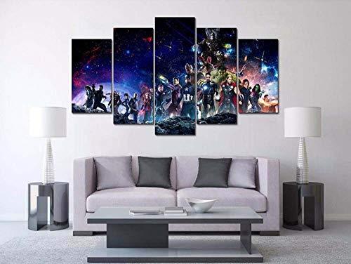 ADKMC 5-Teilig auf Leinwand, Marvel Avengers Bilder fertig gerahmt mit Keilrahmen, Kunstdruck auf Wandbild mit Rahmen