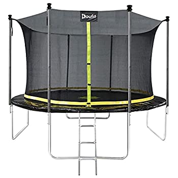 12FT Trampoline with Enclosure Net and Ladder Doufit TR-06 Outdoor Recreational Rebounder Trampoline for Kids and Family Jumping Exercise Fitness Heavy Duty Trampoline