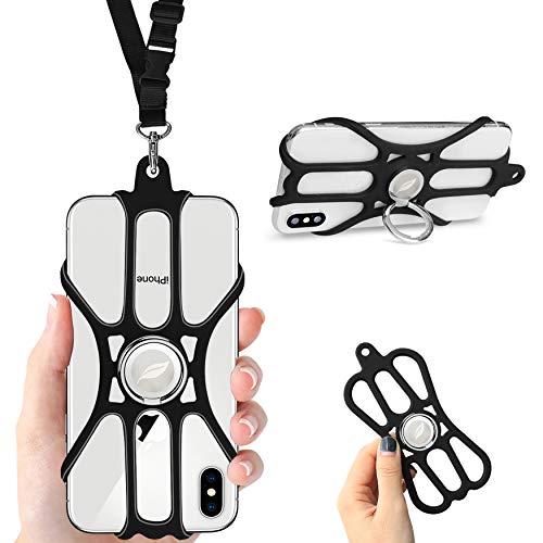 ROCONTRIP Phone Lanyard Silikonhülle Handy-Trageriemen mit verstellbarem Trageriemen & abnehmbarem Fingerring Ständer für 4,7-6,5 Zoll Smartphone Universal für iPhone 11, X, 8,7,6S Galaxy, Huawei