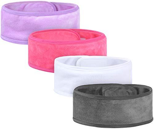 VIVOTE Diadema Maquillaje 4 Paquetes, Diadema de Spa Ajustable, Diadema Facial de Tela Suave para Lavado de Cara y Ducha, Colores Variados