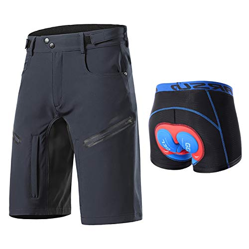 Pantalones Cortos de Ciclismo para Hombre, Shorts de Bicicleta de Montaña Impermeables y Transpirables de Secado Rápido con Bolsillos con Cremallera, Ropa Interior de Cic(Size:XXL,Color:Gris)