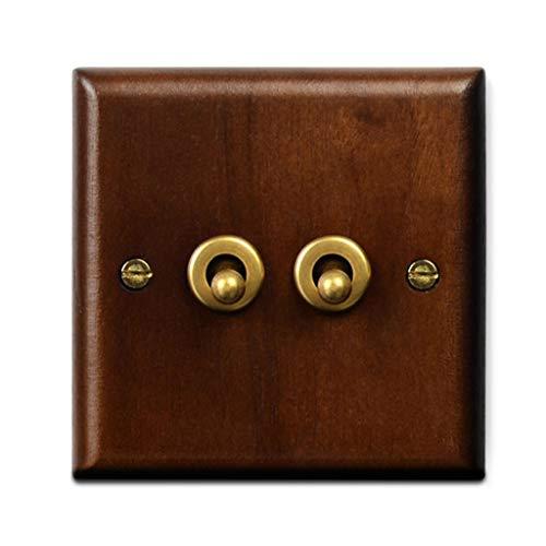 FSJKZX Interruptor De Luz Interruptor De Palanca De Latón En Panel De Pared Retro De Madera Multifunción De Control Dual De Cuatro Abiertos 110v220v (Color : B, Size : 86 * 86mm)