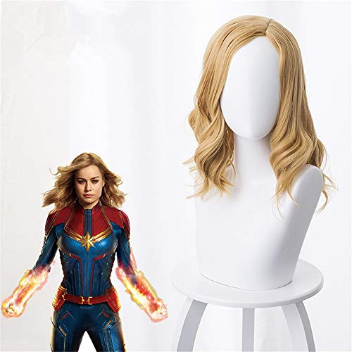 Película Capitán Marvel Coplay Peluca Mujer Carol Danvers Rubia Resistente al calor Sintético Juego de roles PelucasKS-578