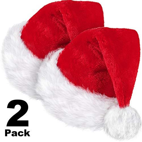 SATINIOR 2 Stücke Weihnachtsmütze, Unisex Samt Weihnachtsmütze Weihnachtsmütze Weihnachtsmütze mit Komfortfutter und Plüschkrempe Rot für Erwachsene Party Neujahr Weihnachtstag