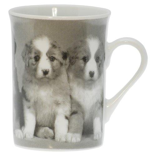 About-Tea Shop Tasse avec Motif Chiots Noir et Blanc, Tasse à Café, Gobelet, 250 ML