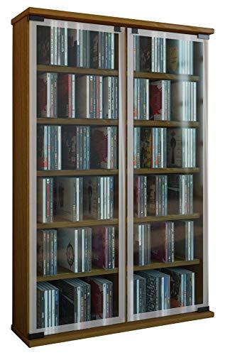 VCM Galerie Mueble CD/DVD para 300 Piezas, Roble rústico, 91,5x60x18 cm