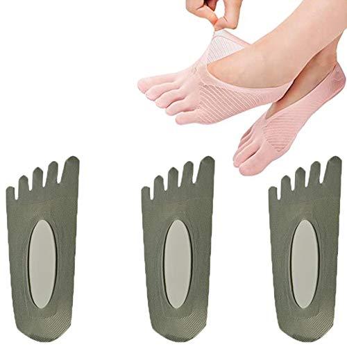 GUANJIAN Calcetines OrtopéDicos De CompresióN para Mujer, Calcetines Invisibles Antideslizantes con LengüEta De Gel para Correr (3 Pares) Gris