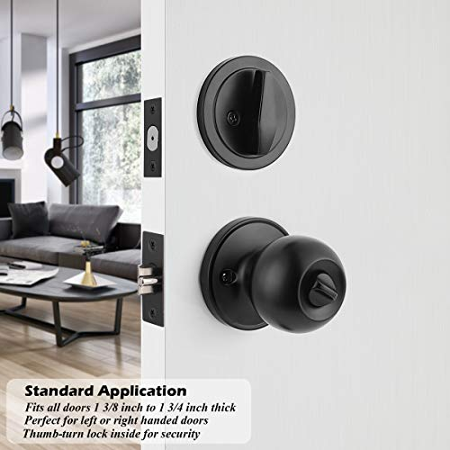 Gobrico Round Ball Style Entry Door Knob and Single Cylinder Deadbolt Lock Combination Set of 3 with Same Key Matte Black Keyed Door Locksets for Front and Entrance Door, 3 Pack