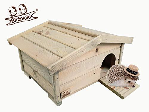 BLIŹNIAKI Hölzernes Igelhaus Wetterfest 37 X 47 X 25cm Abnehmbares Dach Holzboden Labyrinth Sicher für Igel Igelhütte ECO Igelhaus aus Holz Igelhotel für den Garten HDJ3 SN