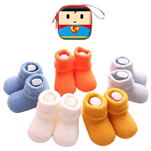 Sweetneed 6 Pares Calcetines Recien Nacido niño Calcetines de recién nacido Calcetines bebe niña Invierno 0-36 Meses Monedero Infantil de Dibujos Animados (Solid color, S)