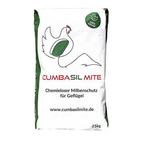 Cumbasil Mite Baño de Polvo contra ácaros Bolsa de 25 kg - Protección Natural contra ácaros - Producto contra ácaros - Ácaro de pájaro Rojo - Aprobación orgánica