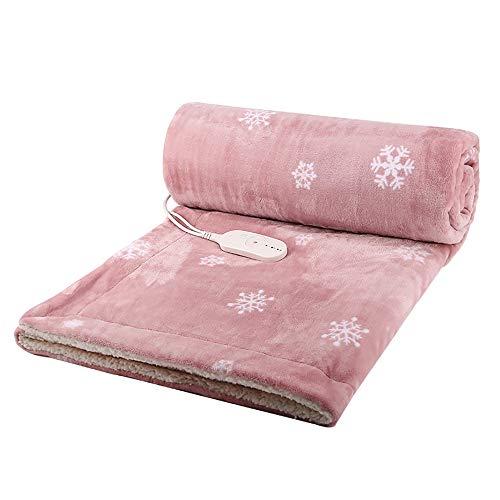 ANFAY Heizdecke Elektrische Heizdecke Sanitärdecke Schnellheizung Waschbar Doppel-Wärmeunterbett mit 3 Temperaturstufen, Abschaltautomatik und Überhitzungsschutz,Rosa,Double